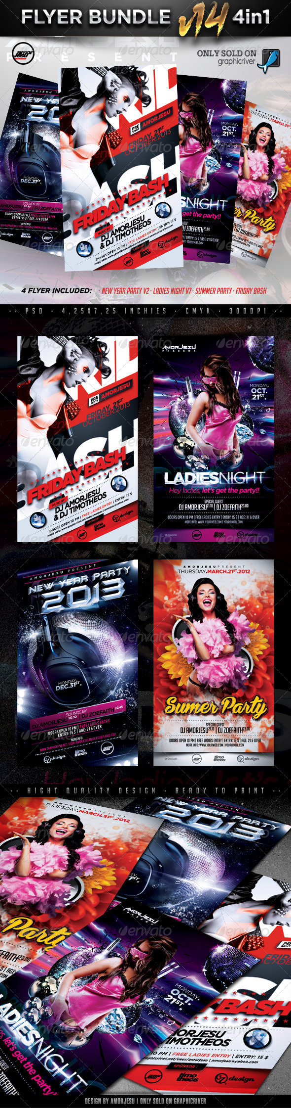 Flyer Bundle Vol14 - 4 in 1 - Clubs & Parties Events