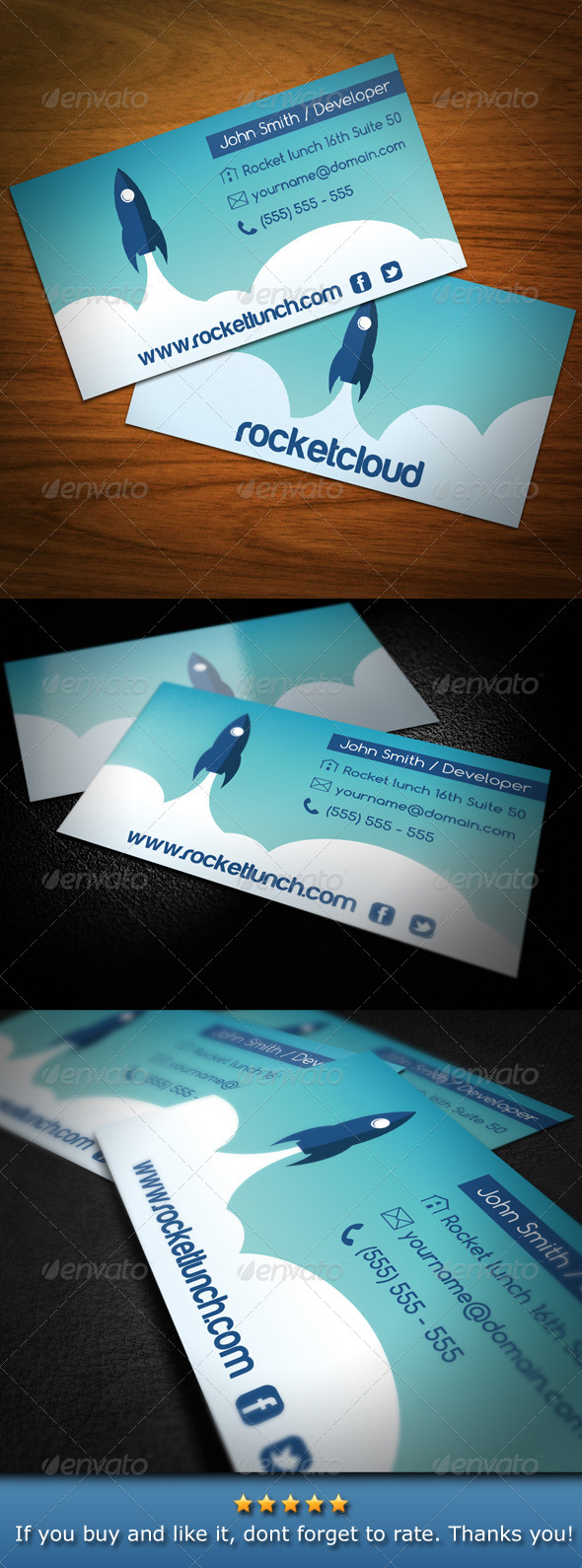 GraphicRiver Rocket Launch Creative Business Card 4657063