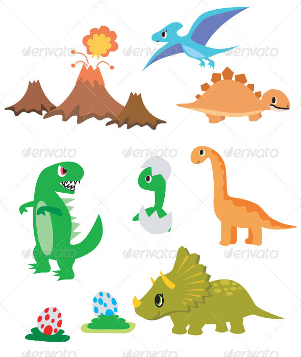 GraphicRiver 9 Dinosaurs 2 Eggs and Volcano 4623473