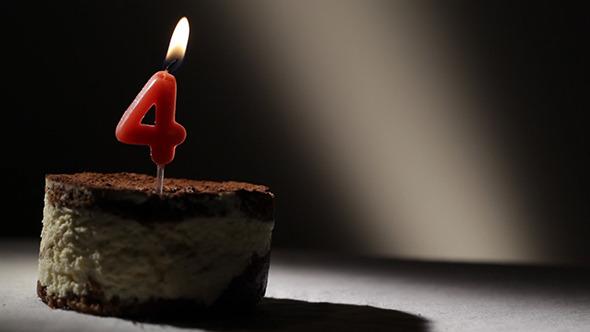 Candle 4 In Tiramisu Cake