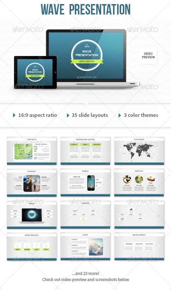 Wave PowerPoint Template - Presentation Templates