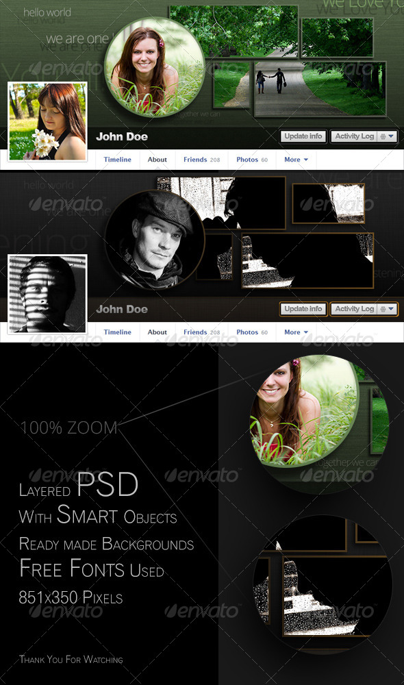 GraphicRiver Facebook Timeline Cover with Grid and Circle 4657521