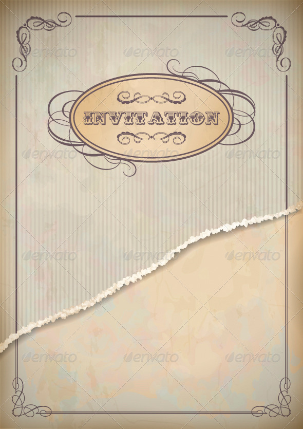 GraphicRiver Vintage Grunge Invitation Paper Card with Frame 4657607