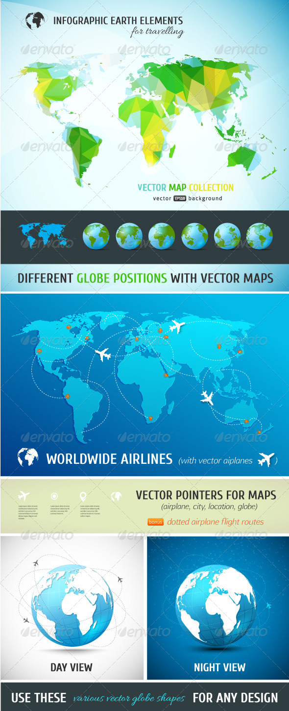 Set of Vector Maps and Realistic Globe Models