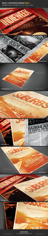 Poster & Flyer Perspective Mockup Bundle - Flyers Print
