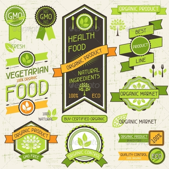 GraphicRiver Organic Food Banners Set of Labels and Stickers 4657973