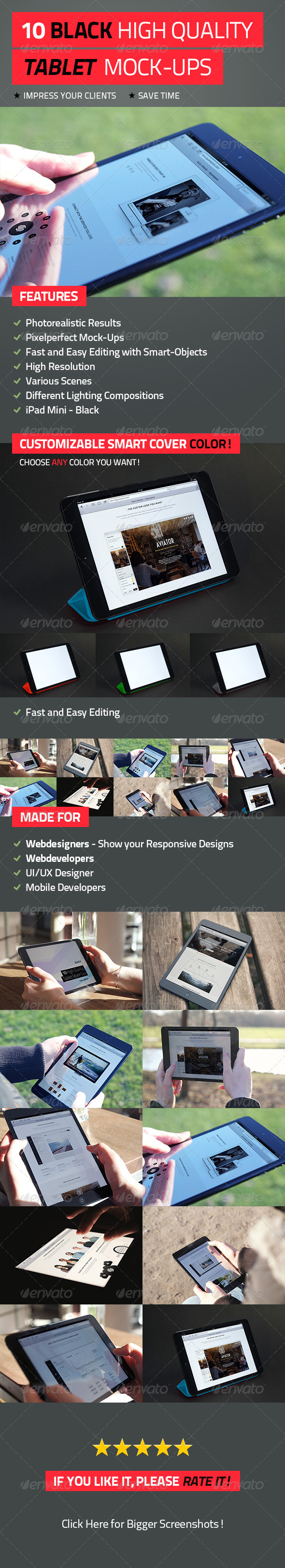 GraphicRiver - 10 Black High Quality Tablet Mock-Ups