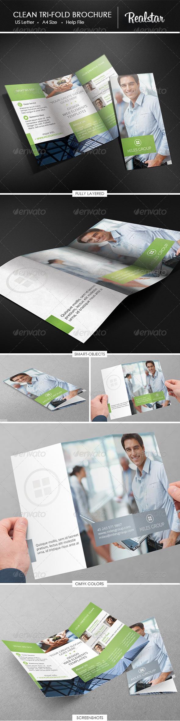 GraphicRiver Clean Corporate Tri-fold Brochure 4658115