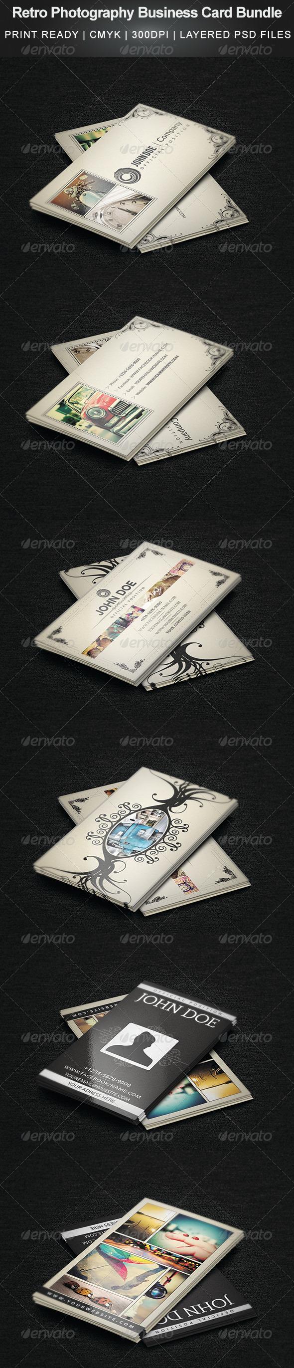 GraphicRiver Retro Photography Business Card Bundle 4658922