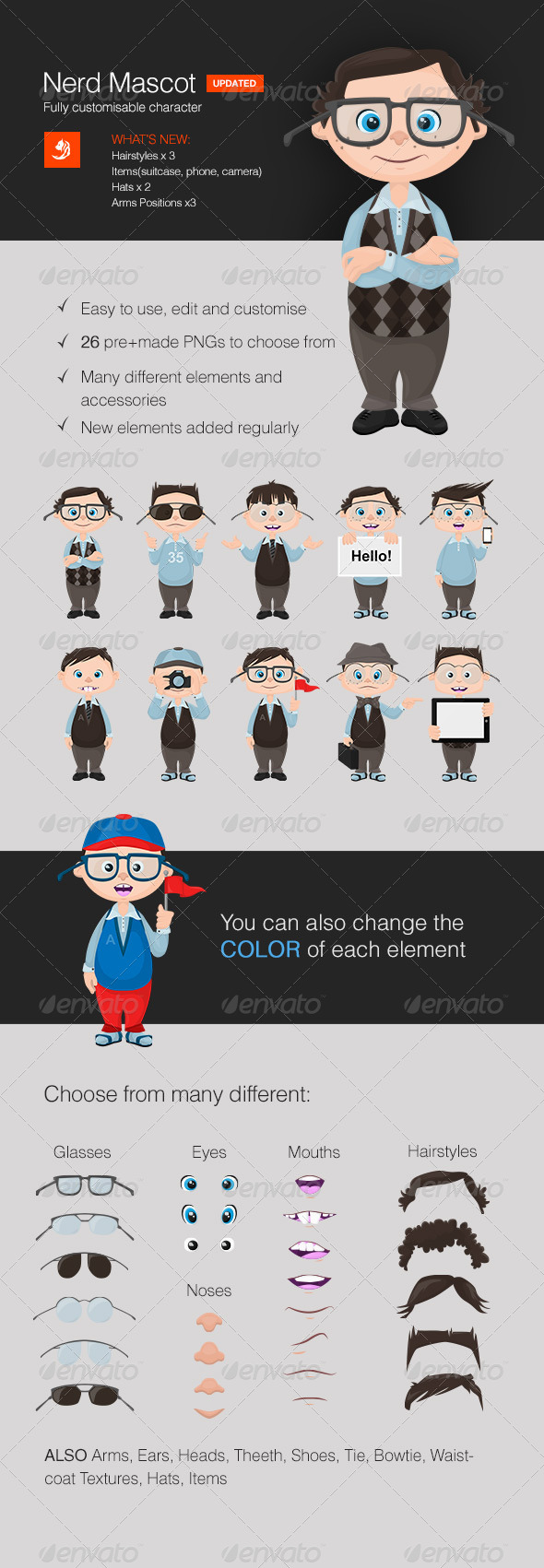 Fully Customizable Nerd Mascot - Characters Vectors