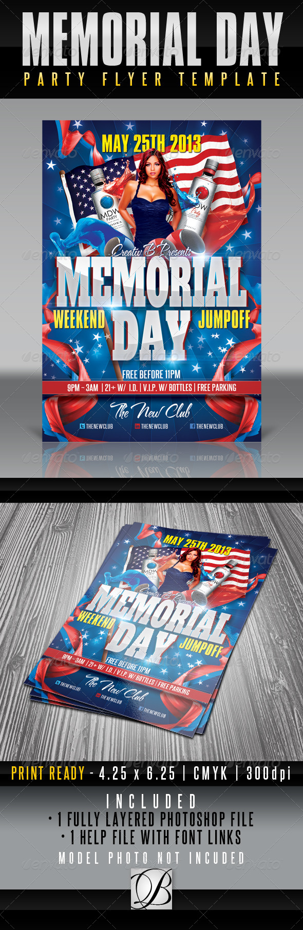 GraphicRiver Memorial Day Party Flyer Template 4659460