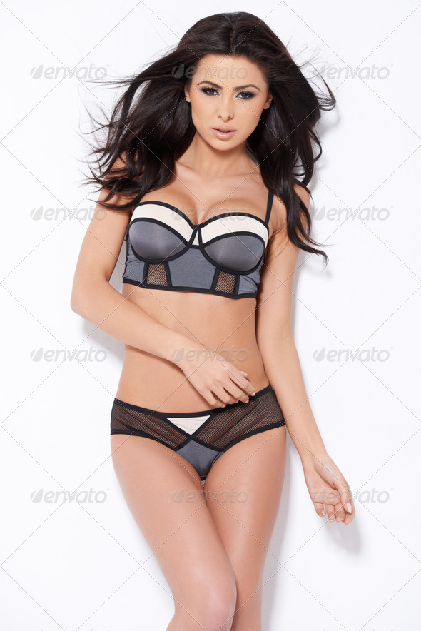 Cute brunette posing in sexy lingerie - Stock Photo - Images
