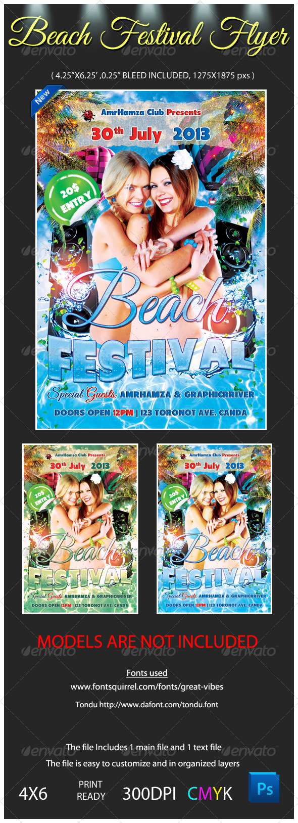 GraphicRiver Beach Festival Flyer Template 4659491