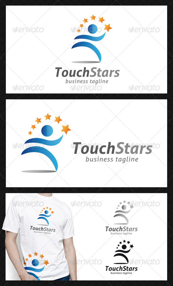 GraphicRiver Touch Stars People Logo Template 4659525