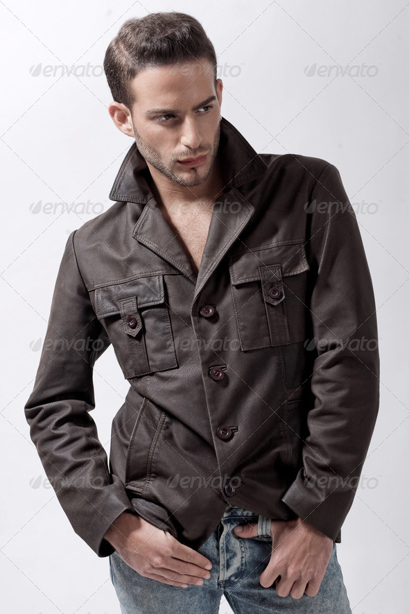 Young male model with brown jacket - Stock Photo - Images