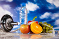 Vitamin and Fitness diet, dumbell