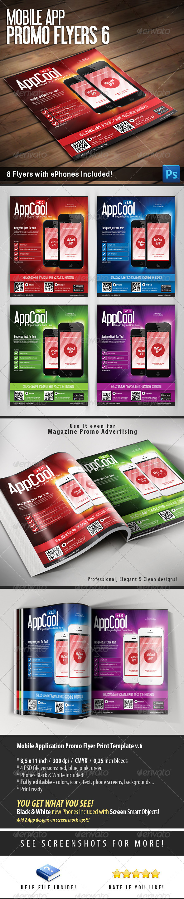 Mobile App Flyers Template 6 - Flyers Print Templates