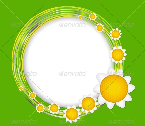 Abstract Background with Frame and Flowers