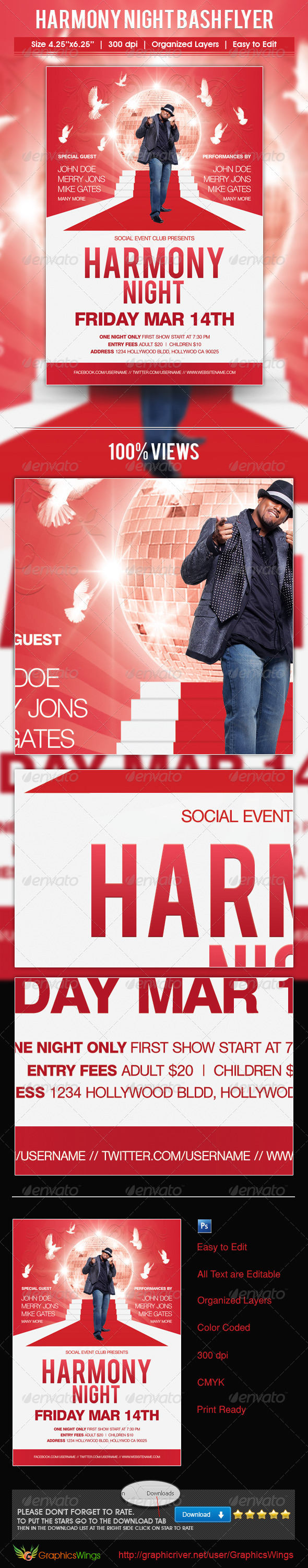GraphicRiver Harmony Night Bash Flyer Template 4590588