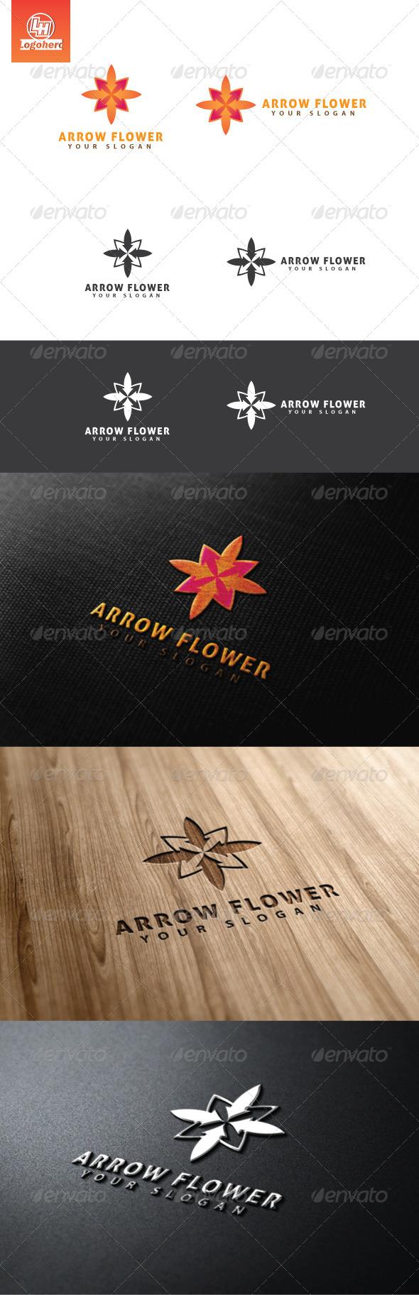 Arrow Flower Logo Template