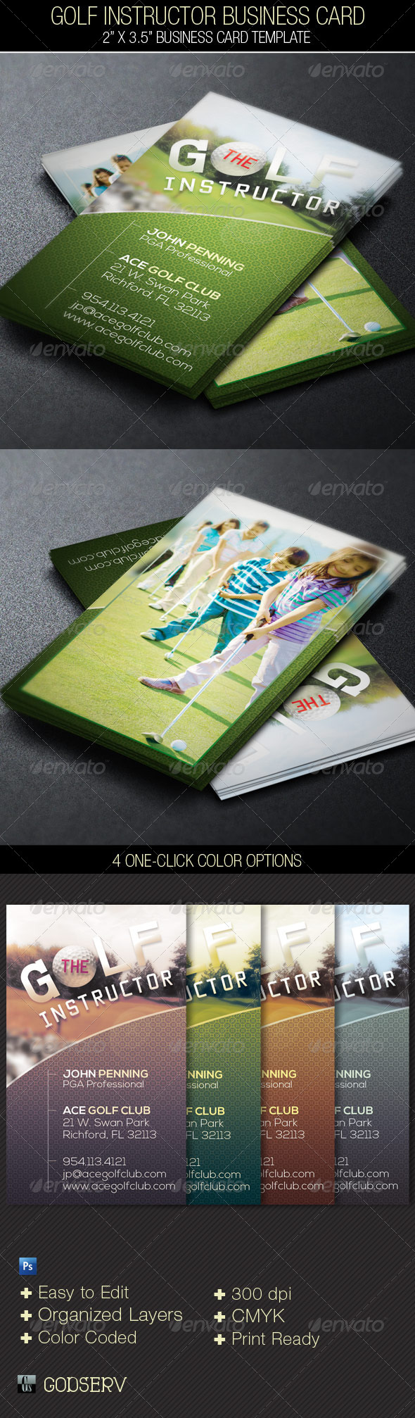 GraphicRiver Golf Instructor Business Card Template 4660587