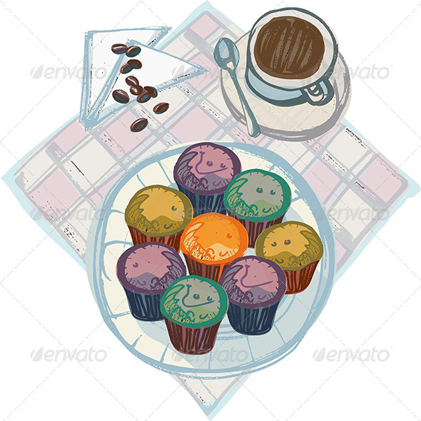 GraphicRiver Coffee with Plate of Cupcakes 4661290