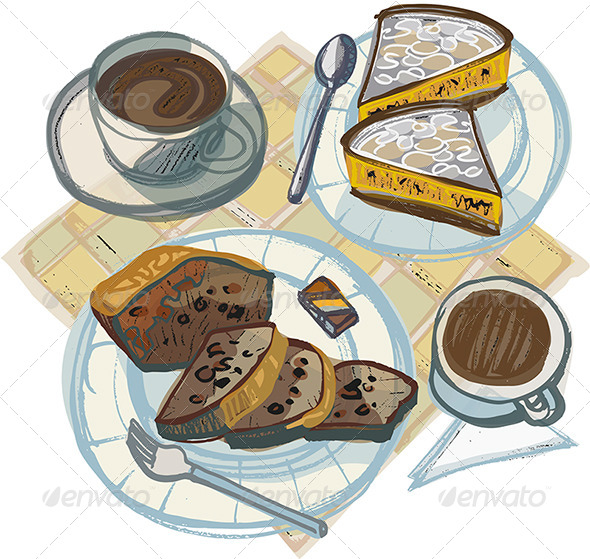 GraphicRiver Two Coffees with Cakes and Chocolates 4661335