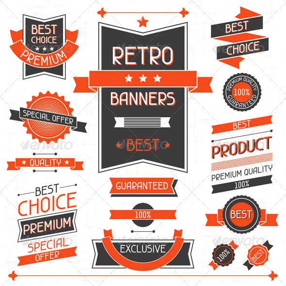 GraphicRiver Retro Banners Set of Labels and Stickers 4636825
