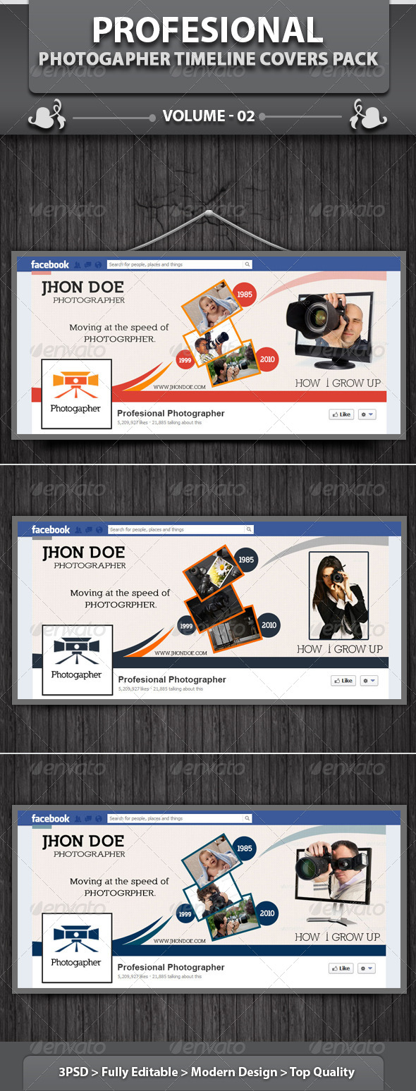 GraphicRiver Photographer Facebook Timeline Covers Pack v2 4602616