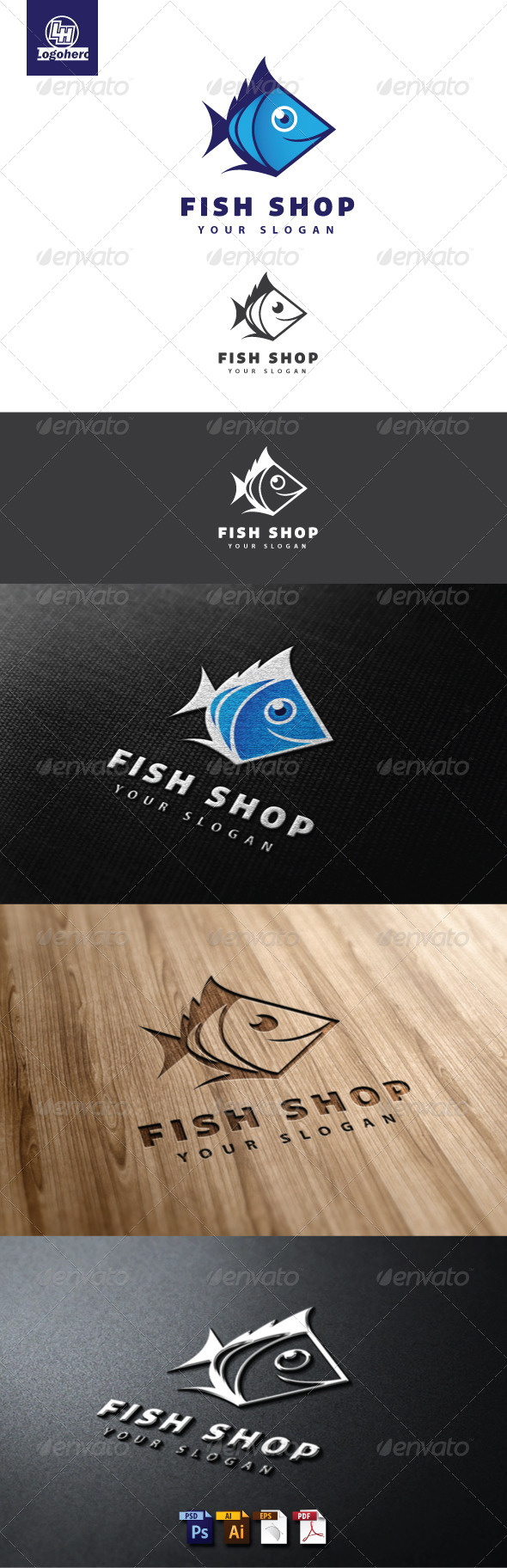 Fish Shop Logo Template