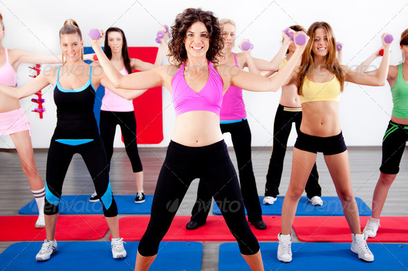 Stock Photo - PhotoDune women doing aerobics with dumbbell 487529
