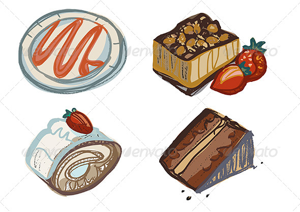 GraphicRiver Chocolate and Strawberry Cake Slices Plate 4661817