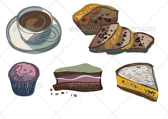 GraphicRiver Cup of Coffee with Various Cakes 4661865