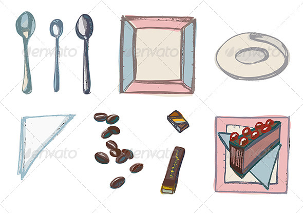GraphicRiver Teatime Elements Spoons Plates Napkins Coffee 4661885