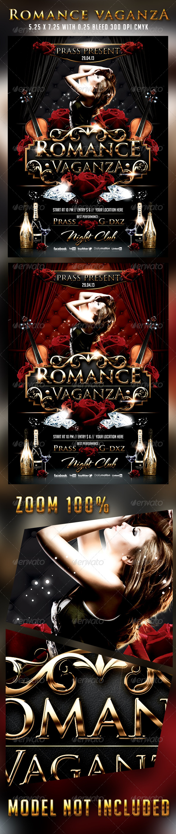 Romance Vaganza Flyer Template - Clubs & Parties Events