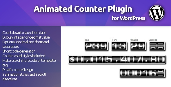 Simple, animated counter, which will allow You to present rapidly increased or decreased integer and decimal values, such as number of registered users, total i
