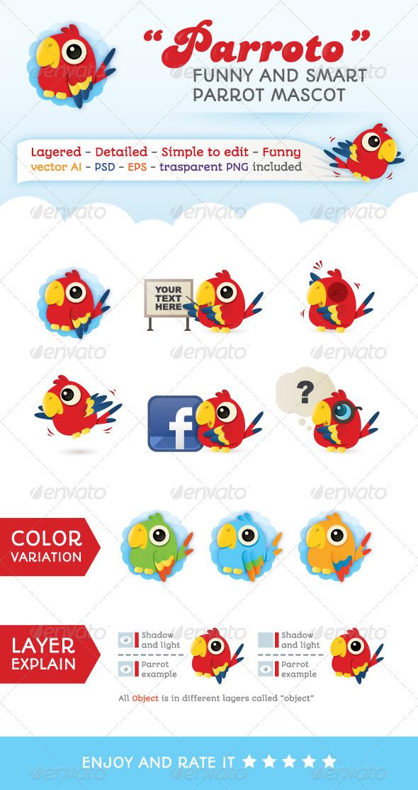 GraphicRiver Parroto Web Parrot Mascot 4639565