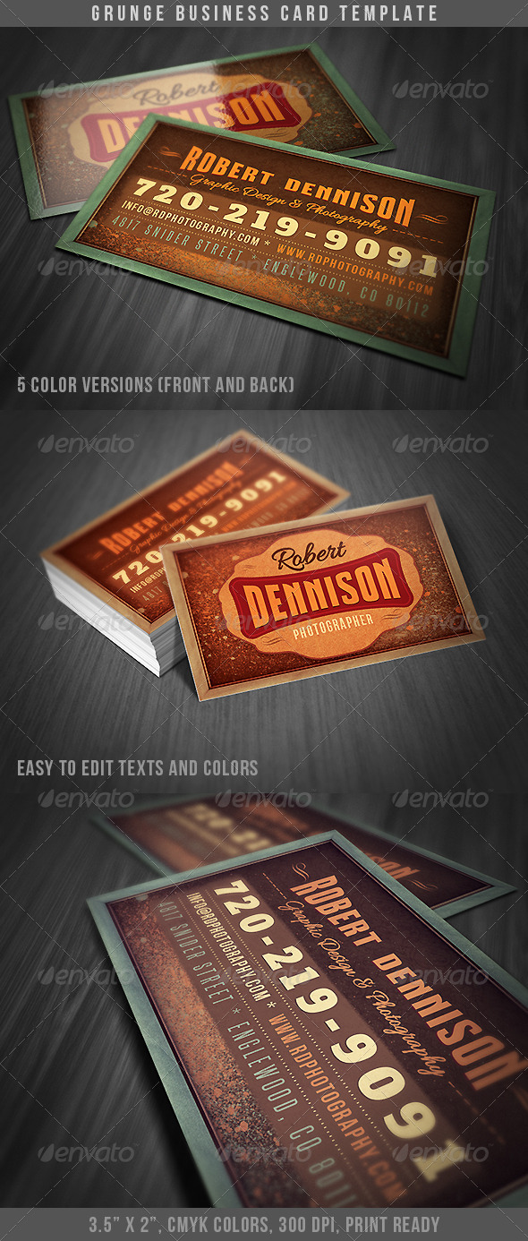 GraphicRiver Grunge Business Card 4662646