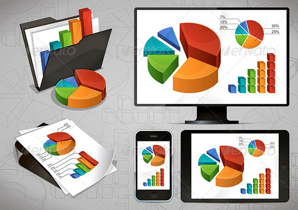 GraphicRiver Bright Charts and Devices 4663095
