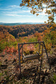 swing bench overlooking mountains in fall - PhotoDune Item for Sale