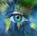 Planet earth and blue human eye in motion blur - Time passing fo - PhotoDune Item for Sale