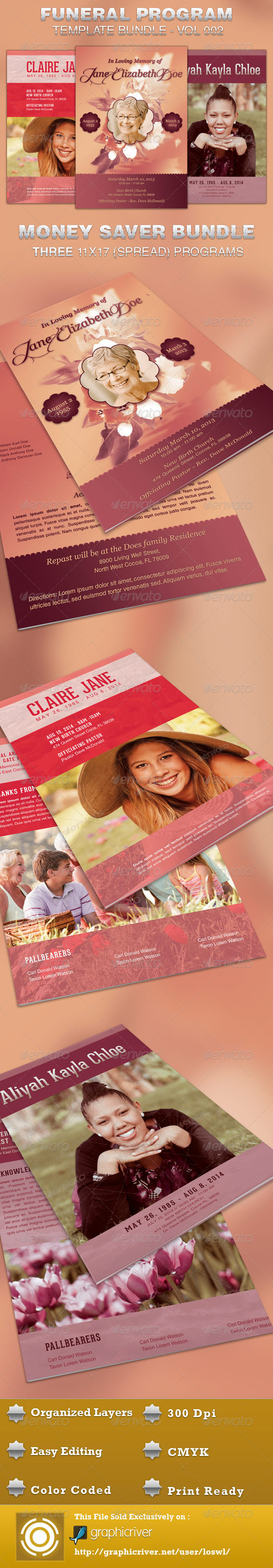 Funeral Program Template Bundle-Vol 002 - Informational Brochures