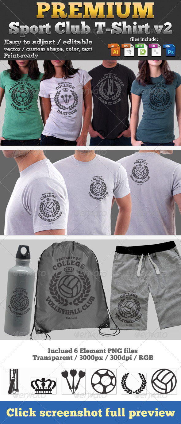 GraphicRiver Premium Sport Club T-Shirt V2 Template 4664500