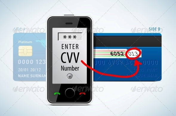GraphicRiver Credit Card CVV Code with Mobile Phone 4664617