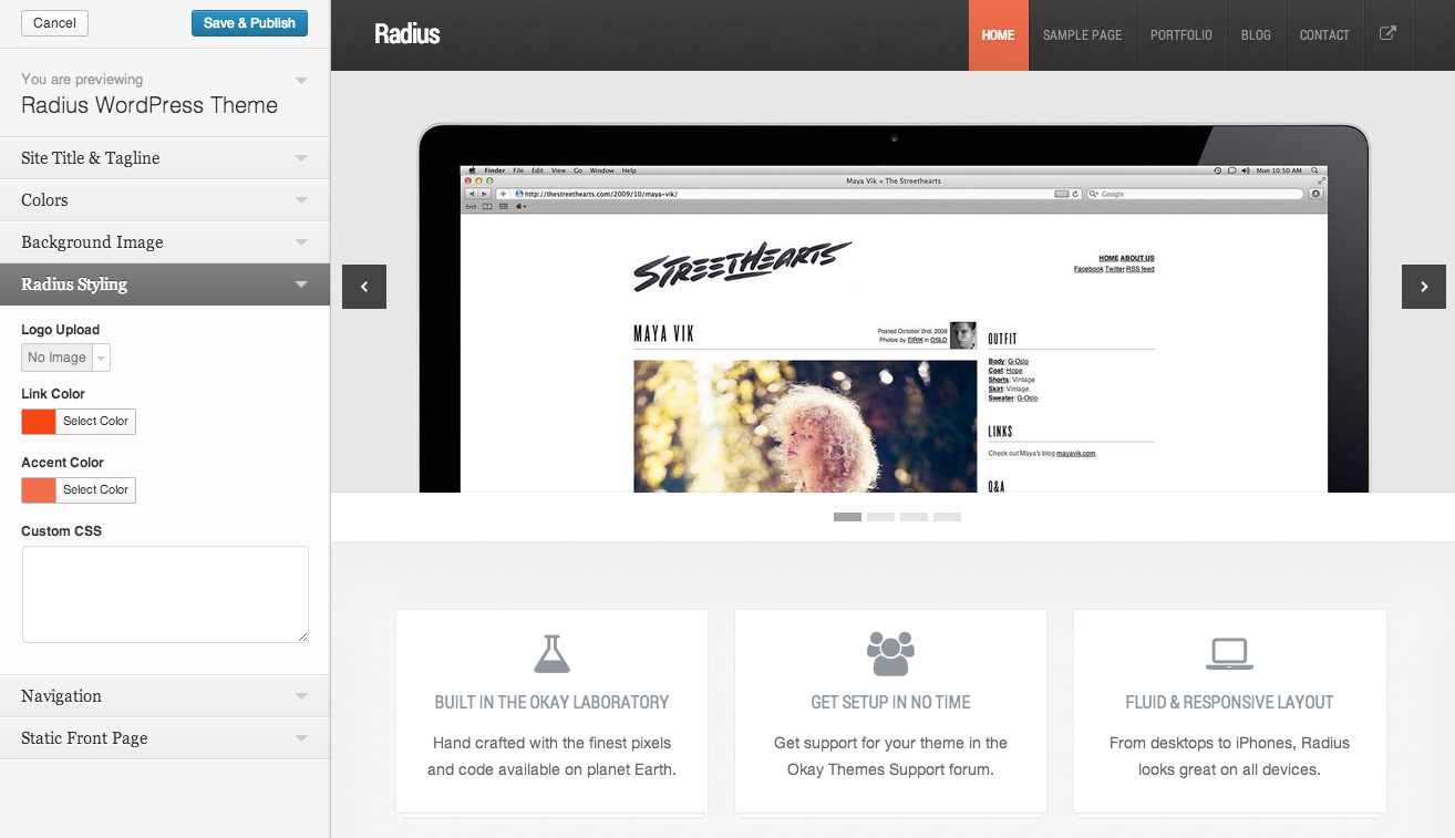 Radius Responsive WordPress Theme