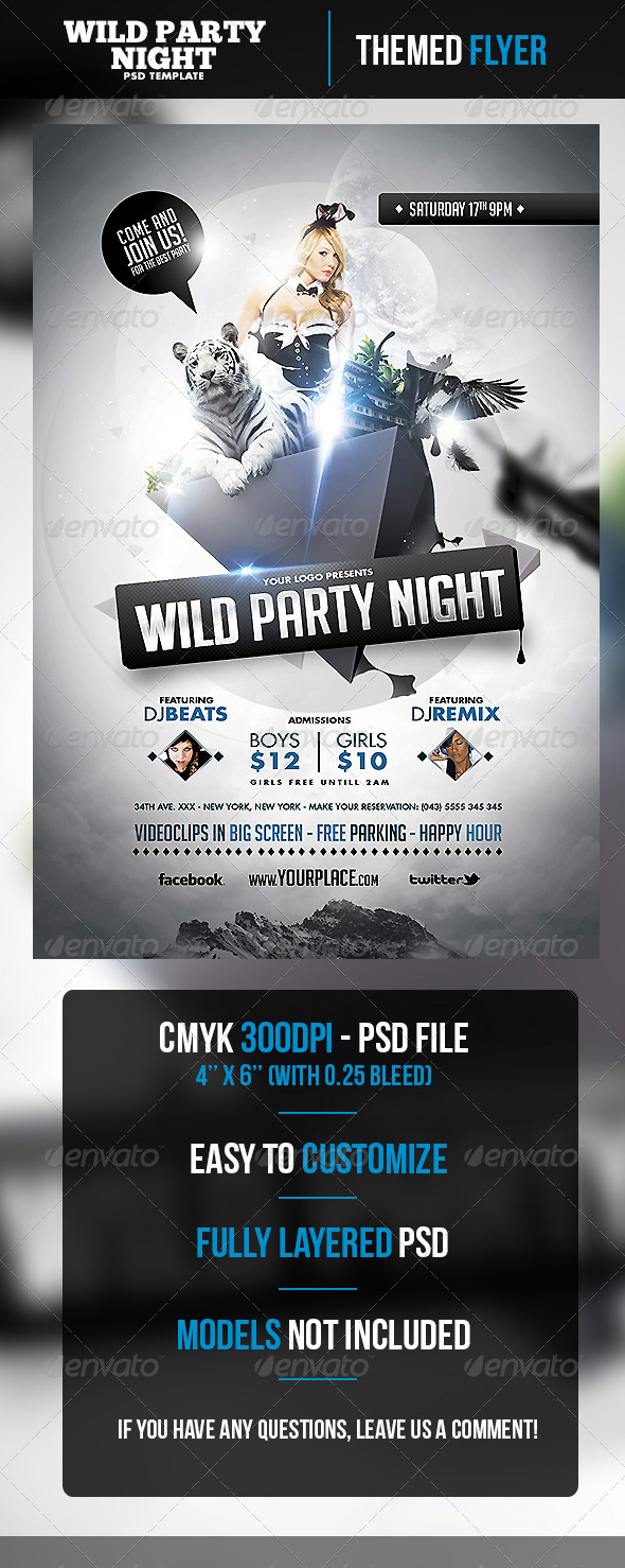 Wild Party Night Flyer Template - Clubs & Parties Events