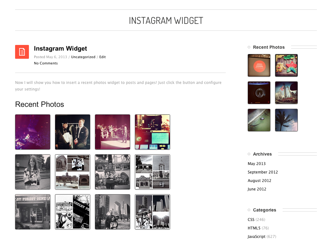 Instagram Recent Photos Widget Pro For Wordpress By