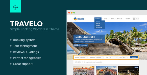 Tema de WordPress para Web de Booking: Travelo