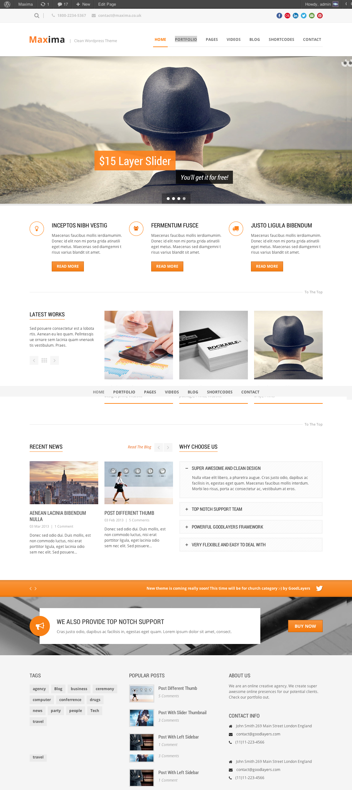 Maxima - Retina Ready WordPress Theme - index page with color changed
