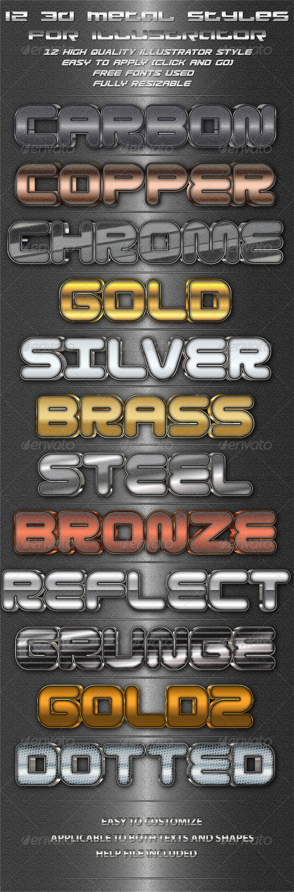 GraphicRiver 12 3D Metal Styles for Illustrator 4665242